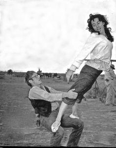 """James Dean & Elizabeth Taylor on the set of """"Giant"""" 1955"""