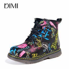 810fd97e4 DIMI 2019 New Kids Boots Girls PU Leather Martin Boots Fashion Brand  Children Boys Boots Waterproof