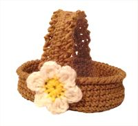 Basket, does not say hook size but im using 3.50mm hook and sport weight yarn for small baskets for mini eggs