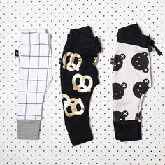 Huxbaby Grid leggings, Pretzel drop crotch pants and Rolling Bears drop crotch pants, all available from www.babydino.com.au