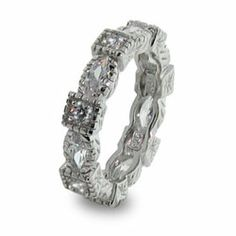 Sterling Silver Stackable Band with Diamond Cubic Zirconias, $46