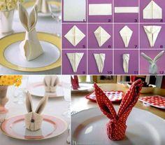 Great serviette folding idea for Easter -bunny ears