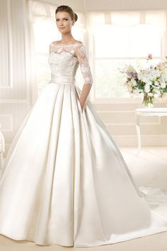 2013 Wedding Dresses A Line Bateau Court Train Satin PJ8X6576 Online Sale