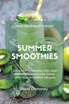 A refreshing smoothie is easy to make, delicious to drink and is jam-packed of goodness.  By combining different mixtures of fruits and vegetables, you can experiment to find a taste that's perfect for you whether you want a smoothie to perk you up at breakfast, or to wind down as a calming drink before bedtime. Kiwi Smoothie, Yummy Smoothie Recipes, Body Tissues, Mediterranean Garden, Small Garden Design, Best Breakfast, Recipe Cards, Fruits And Vegetables, Good Food