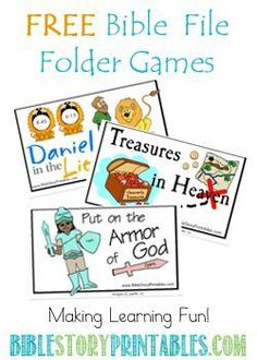 Free Printable Bible File Folder Games and lots of printables from this website. Good Sunday School ideas as well Bible Games, Bible Activities, Church Activities, Kids Church Games, Children Church, Abc Games, Bible Lessons For Kids, Bible For Kids, Toddler Bible