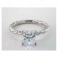 Knot Rope Solitaire Diamond Engagement Ring in 4 Prong Setting