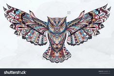 Patterned owl on the grunge background. African / indian / totem / tattoo design. It may be used for design of a t-shirt, bag, postcard, a poster and so on.