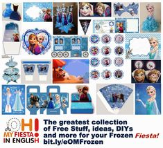 Frozen with Snow: Free Printable Party Kit. - Oh My Fiesta! in english Olaf Frozen, Cute Frozen, Frozen Free, Free Printable Cards, Free Printable Invitations, Party Printables, Free Printables, Printable Frames, Frozen Fever Party