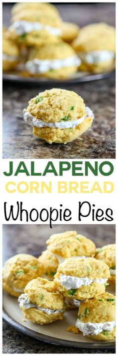 Jalapeno Cornbread Whoopie Pies with Bacon Goat Cheese Filling: Soft and tender Jalapeno Cornbread filled with a tangy bacon goat cheese filling.
