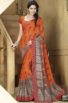 Orange Color #Designer #Printed #Party Wear Saree With Blouse At Skysarees.