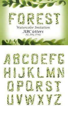 Foliage Watercolor Vector Font. Script Fonts