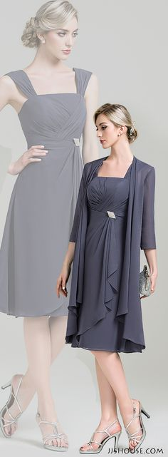 A-Line/Princess Square Neckline Knee-Length Chiffon Mother of the Bride Dress With Crystal Chic chiffon dress. Both ways are great looks. Both ways are great looks. Mother Of Groom Dresses, Bride Groom Dress, Mothers Dresses, Mother Of The Groom Hair, Mother Of The Bride Dresses Knee Length, Mob Dresses, Bridesmaid Dresses, Formal Dresses, Chiffon Dresses