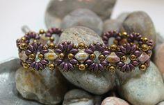Czech Glass Silky Bead Superduo Bracelet Embellished with Czech Glass Rounds and Toho Seed Beads Czech Silky Diamond Beads ~ 6mm Alabaster