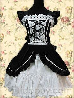 Cotton Black Short Sleeves Gothic Lolita Dress