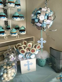 Blue and gray baptism party ideas. Baptism Party Decorations, First Communion Decorations, Baptism Centerpieces, Dedication Ideas, Baby Dedication, Fiesta Shower, Shower Party, Christening Party, Baby Boy Baptism