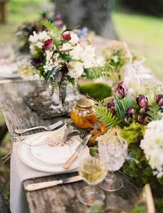 Rustic Table Setting with Flowers @jose villa // Follow us on Facebook & Instagram: @thebohemianwedding // #bohowedding #tablesetting #wedding
