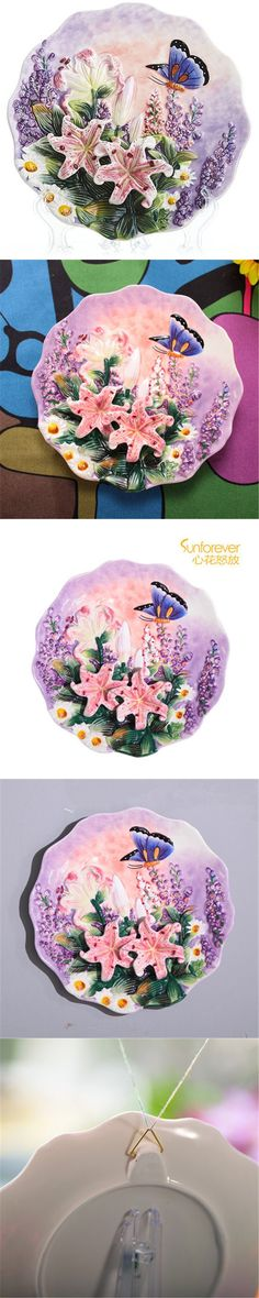 Creative handmade painted emboss lily butterfly flower decorative hanging plate ceramic plate modern home decoration ornaments $59