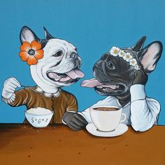 French Bulldogs Cafe and Sugar immortalized on canvas by The Dog Painter , Jeroen Teunen. French Bulldog Art, French Bulldog Puppies, French Bulldogs, Pet Cafe, Cartoon Dog, Dog Park, Dog Quotes, Dog Design, Animals And Pets