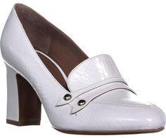 Get the must-have pumps of this season! These Tabitha Simmons White Maxwell Slip On Loafer Heels / 38 Eu Pumps Size US 8 Regular (M, B) are a top 10 member favorite on Tradesy. Wedge Loafers, Heeled Loafers, Suede Sandals, Suede Heels, Loafer Shoes, Heeled Mules, Patent Heels, Pumps, Ysl Purse