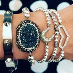 Set By Vila Veloni Silver And Black Zirconia Bracelets