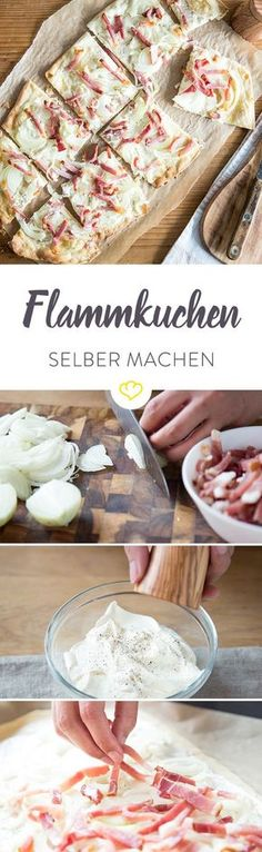 Das Elsässer Original – so backst du hauchdünnen Flammkuchen The best tarte flambée in the world is at your home! With these tricks he will be incredibly crispy and delicious! Best Pancake Recipe, Party Finger Foods, Tasty, Yummy Food, Soul Food, I Foods, Food Inspiration, The Best, Food Porn
