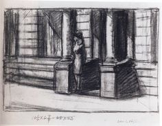 Study for Summertime: 1943 by Edward Hopper (Whitney Museum, NYC) - American Realism (Viewed as part of the Exhibit - Hopper Drawings at the Whitney 10/5/13)