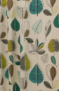 Maple Teal is a weighty panama style cotton soft furnishing fabric, featuring an Emerald green Scandinavian inspired print. From £14 per metre.