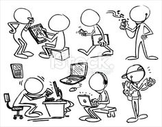 Personnage de caractère, Ordinateur, Visage sans expression, Dessin au crayon, Pianoter sur un clavier Illustration vectorielle libre de droits