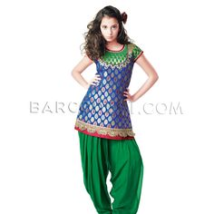 $63 Blue brocade patiala suit is with embroidery.It comes with green patiala and matching dupatta.