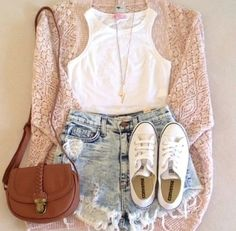 Tumblr! Summer outfit! Converse are always the go to shoes for anything! And cardigans are comfy and cozy for a lazy day! :)