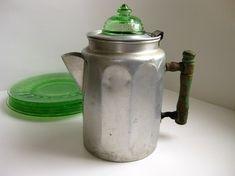 Green handle Coffee pot, green glass percolator top, green Cameo dessert plates.