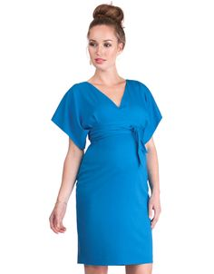 fa0f1cfb7b33 Blue V Back Maternity Dress. Vestiti PremamanModa ...