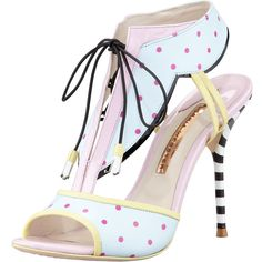 Sophia Webster Leilou Polka-Dot T-Strap Sandal, Blue/Pink ($595) found on Polyvore