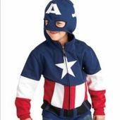 captain america super hoodie - Your superkid can cozy up in this awesome hoodie. It has a cool half-hood mask he can don when it's time to transform into his alter identities, with cut-out eyes. Has embroidery, appliqués, pockets and fleecy insides. Captain America Hoodie, Captain America Costume, Stylish Little Boys, Long Sleeve And Shorts, Toddler Boys, Kids, Cool Hoodies, Hoodie Jacket, Boy Fashion