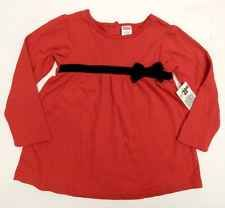 NEW Toddler Girls Fisher Price Red Long Sleeve Jumper Dress Black Bow Size 4T