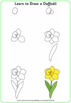 Our daffodils are blooming! thought I would send this Learn to draw a daffodil printable to my Compassion kids this month