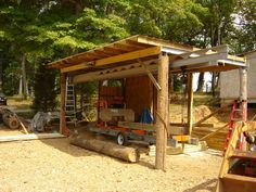 Also building a sawmill shed. Lumber Mill, Wood Mill, Portable Saw Mill, Bandsaw Mill, Shed Floor Plans, Loafing Shed, Chainsaw Mill, Lean To Shed, Storage Shed Plans