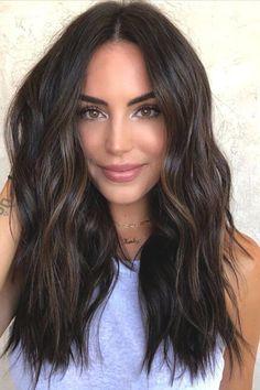Brown Hair Balayage, Balayage Brunette, Dark Hair Lowlights, Dark Hair Balyage, Dark Balayage, Balayage Straight Hair, Dark Ombre Hair, Brunette Highlights, Hair Color For Black Hair