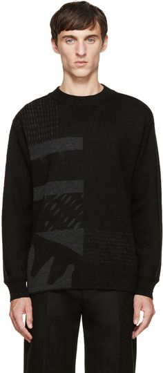 Wooyoungmi Black Graphic Knit Sweater