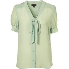 Mint Pussybow Blouse ($75) ❤ liked on Polyvore featuring tops, blouses, shirts, blusas, women, bow collar blouse, mint top, button front blouse, mint green top and short sleeve blouse
