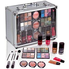 Jumbl™ Makeup Gift Set Large Clear Case Brush Set with Elastic Brush Holders 3 Little Girl Makeup Kit, Makeup Kit For Kids, Kids Makeup, Cute Makeup, Gorgeous Makeup, Makeup Travel Case, Makeup Case, Makeup Toys, Makeup Gift Sets
