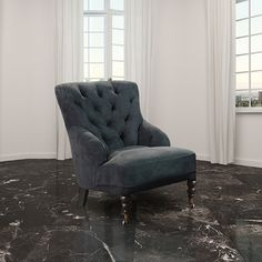 Chesterfield Black Buttoned Armchair HI