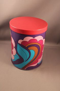 Dazzling 70s Multicolor Round Tin Box with by ZeitreiseFrankfurt