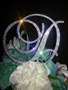 """Stunning Swarovski Crystal Monogram Cake Topper Initial 5"""" Any by OCsparkles, $69.95 or non-swarovski $39.95"""