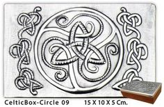 Embossed (repousse) metal celtic box mounted on wood. Measures: 15 x 10 x 5 Cm. //  6 x 4 x 2 In. See more boxes at: arteymetal.devian...