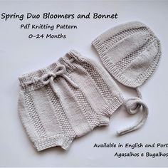 Spring Duo Collection PDF Knitting Patterns Set: Baby Romper, Cardigan, Skorts, Bloomers and Bonnet months Baby Knitting Patterns, Pattern Baby, Baby Patterns, Free Pattern, Bonnet Pattern, Onesie Pattern, Ravelry, Spring, Kid Outfits