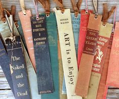 Bookmarks made from spines of old hardcovers, via Jennifer Price Studio