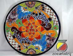 11-5-Talavera-Plate-Mexican-Pottery-Handmade-by-Castillo. 11.5'' inch Talavera Plate Handmade by Castillo Talavera in Dolores Hidalgo, Guanajuato Mexico Lead free paint dishwasher/over/microwave safe  $35.