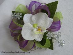 Prom / Homecoming / Wedding Silk Orchid Wrist Corsage on Fitz Design Bracelet. $25.00, via Etsy.