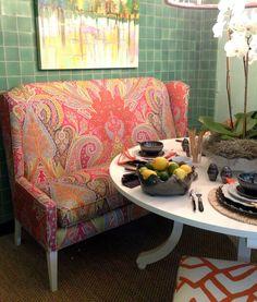 Schumacher MLB fabric banquette -  L. Moore Designs